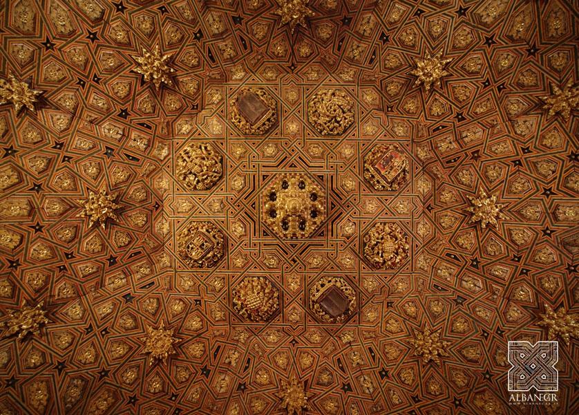 Almizate con racimo de mocárabes en la armadura de la sala capitular. © Albanécar