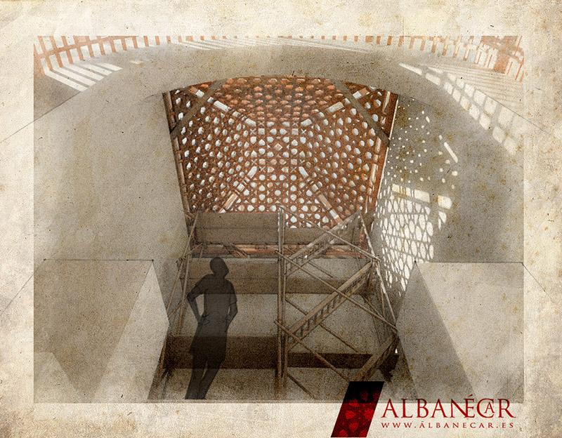 La armadura finalizada, vista desde la escalera del altar. ©Albanécar, 2016.