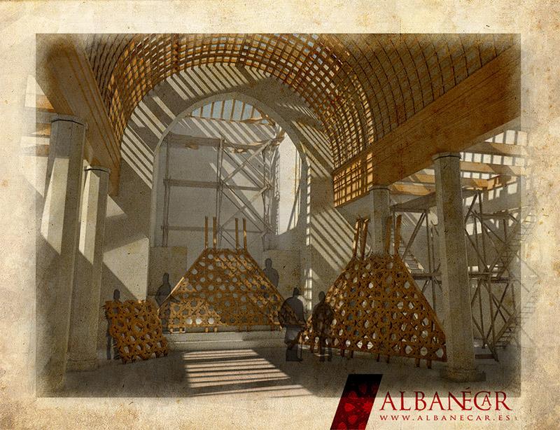 Colocación de los faldones y el almizate a pie de obra. ©Albanécar, 2016.