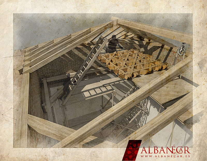 Colocación del almizate sobre el andamio, a la espera de los faldones. ©Albanécar, 2016.